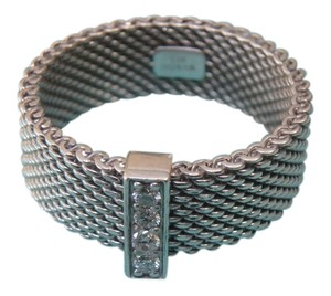Tiffany & Co. Tiffany & Co. Somerset Diamond Mesh Wide Band Ring sterling Silver Sz 5 Pouch