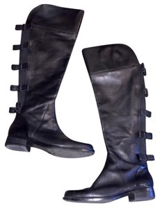 Ellen Tracy Bows Valentino Leather Zip Black Boots