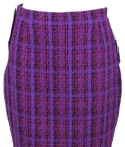 Chanel Boutique Classic Mini Skirt Purple Black Multicolor Wool Tweed Woven Plaid