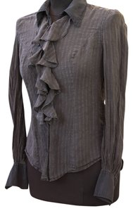 Lucky Brand Ruffle Metallic Top slate grey