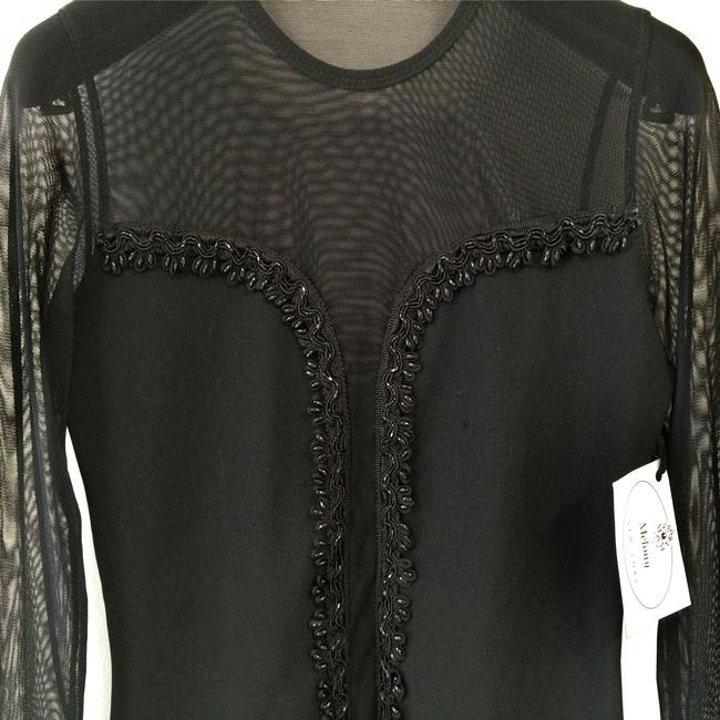 Melony New York Sheer One Of A Kind Dressy Bat Mitzvah Beads Trim Decorated Top Black