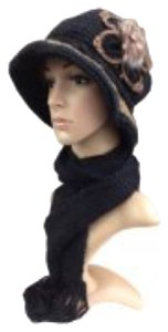 Ladies & Girls Winter Lined Knit Hat & Scarf Set- Black