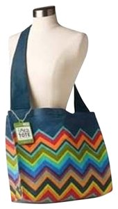 C.R. Gibson Side Shoulder Pocketbook Blue Orange Yellow Green Cotton Gift School Summer Beach Trendy Unique Tote Cross Body Bag