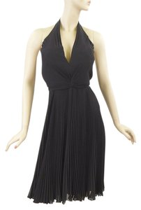 Carmen Marc Valvo Pleated Silk Halter V-neck Dress