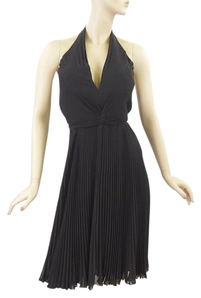 Carmen Marc Valvo Black Silk Pleated Halter Knee Length Cocktail ...