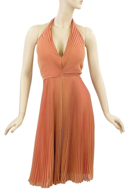 Item - Orange Iridescent Coral Silk Halter Knee Length Cocktail Dress Size 8 (M)