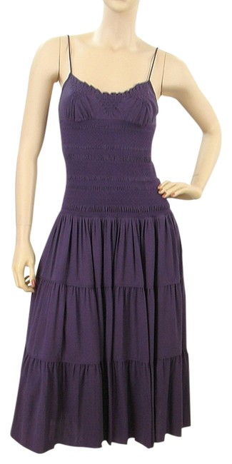 Purple Maxi Dress by Catherine Malandrino Silk Tiered Crochet Embroidered Knit