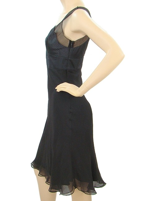 Catherine Malandrino Silk V-neck Sleeveless Evening Sheer Satin Chiffon Dress
