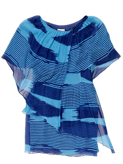 Chris Benz short dress Blue Aqua Tiered Party Summer Spring A-line Print Sheer Striped Bold Stripe on Tradesy