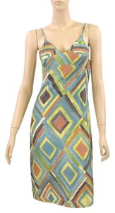 Clements Ribeiro short dress Green, Yellow, Orange Print Silk Empire Waist V-neck Spring Summer on Tradesy