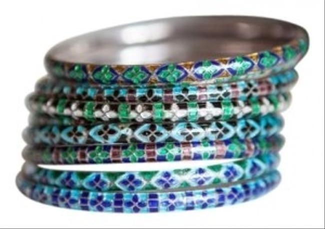 Shades Of Blue and Green 9 Piece Bangle Bracelet Shades Of Blue and Green 9 Piece Bangle Bracelet Image 1