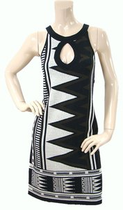 Diane von Furstenberg short dress Black, White Knit Cut-out Shift Shift on Tradesy