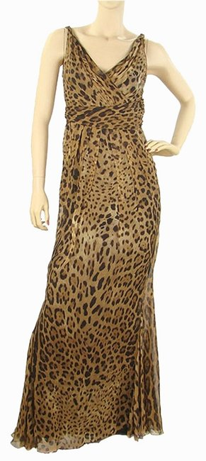 Item - Brown Leopard Print Silk Evening Gown Long Cocktail Dress Size 6 (S)