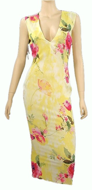 Dolce & Gabbana Floral Print Spring Summer Silk Bodycon V-neck Sleeveless Dress