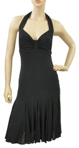 Donna Karan Halter Pleated Flowy Bodycon Sweetheart Sleeveless Empire Waist Dress