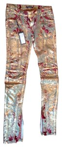 Balmain Brocade Biker Pants Straight Leg Jeans-Coated
