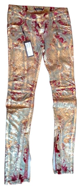 Item - Gold Green Burgundy Coated Straight Leg Jeans Size 26 (2, XS)