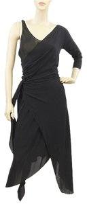 Donna Karan Wrap Drape Draped Silk One Sleeveless Party Gown Dress