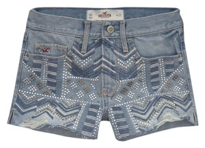 Hollister Denim Embroidered Shorts Light Wash