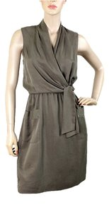 Elie Tahari short dress Taupe, Grey Two-tone V-neck Summer Spring Shawl Silk Drape on Tradesy