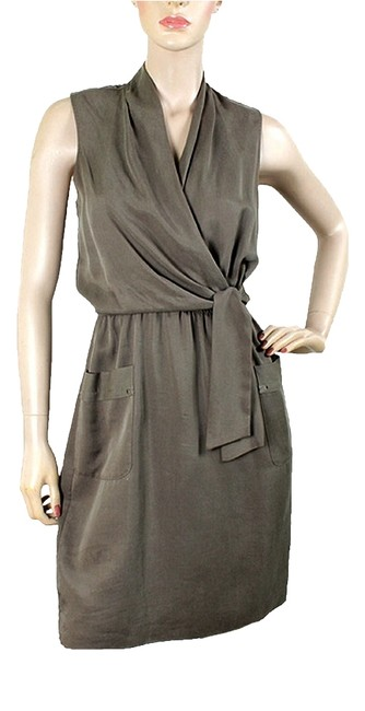 Preload https://item4.tradesy.com/images/elie-tahari-taupe-grey-army-green-twill-cinched-waist-knee-length-short-casual-dress-size-6-s-979588-0-0.jpg?width=400&height=650