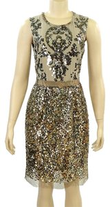 Elie Tahari Sheath Shift Sequin Beaded Evening Party Dress