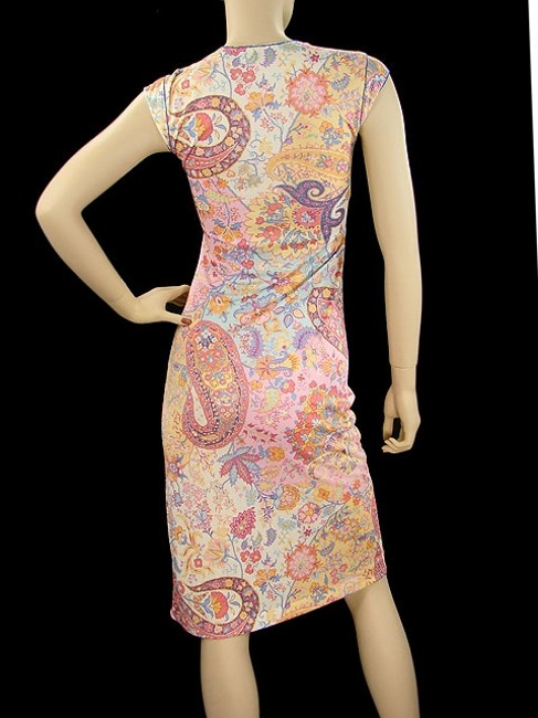 Etro short dress Pink Paisley Floral Bodycon V-neck on Tradesy