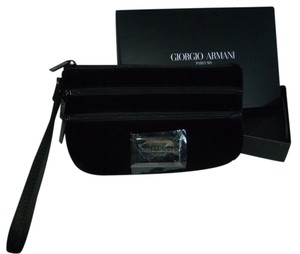 Giorgio Armani Make Up Zipper Velvet Evening Wristlet in Black