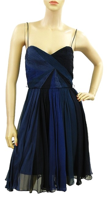 Preload https://item3.tradesy.com/images/foley-corinna-blue-black-shades-silk-chiffon-knee-length-cocktail-dress-size-4-s-979652-0-0.jpg?width=400&height=650