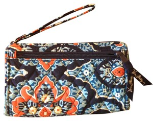 "Vera Bradley Vera Bradley Blue Orange Flowers 10x5"" Organizing Wallet"