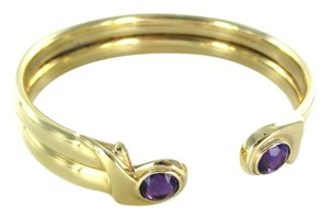 Other 14K SOLID YELLOW GOLD BRACELET AMETHYST BANGLE 24.8 GRAMS FINE JEWELRY ITALY