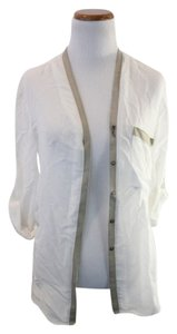 Helmut Lang Leather Summer Horn Button Trim Top White