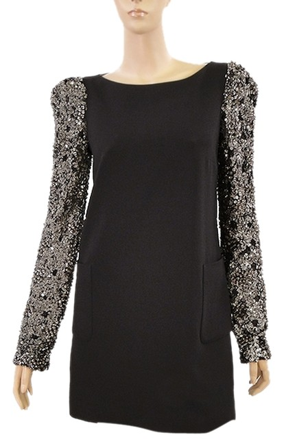 Preload https://img-static.tradesy.com/item/979853/black-wool-tunic-with-beaded-lace-sleeves-above-knee-cocktail-dress-size-4-s-0-0-650-650.jpg