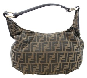 Fendi Canvas Zucca Leather Black Hobo Bag