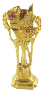 Other 18KT SOLID YELLOW GOLD PENDANT CHARM MENORAH STAR OF DAVID HEBREW PRAYER ARTIST