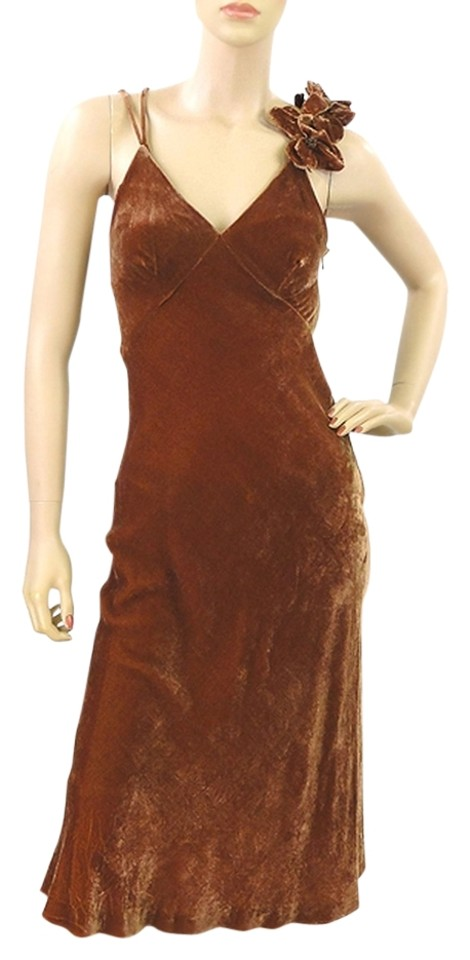 469cde91baed Jean-Paul Gaultier Rust Brown - Caramel Velvet with Flowers Cocktail Dress.  Size  4 (S) Length  Long ...