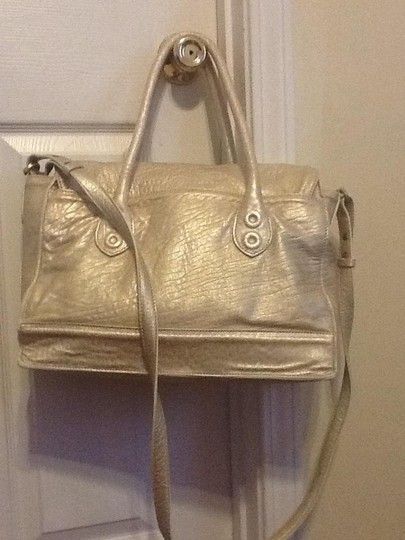 Cole Haan Very Soft Leather Dual Leather Handles & Strap Large Open Inside With Multiple Pockets For Storage Satchel in Champagne