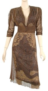 Jean-Paul Gaultier Lace Lace Trim Print Silk Pleated V-neck Embroidered Dress