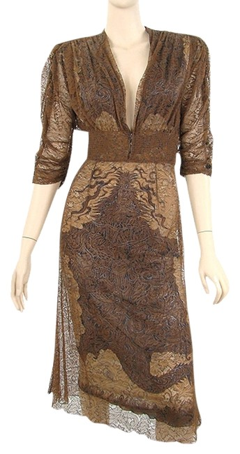 Jean-Paul Gaultier Lace Lace Trim Print Jersey Silk Pleated V-neck Embroidered Dress