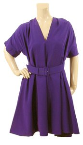 Jean-Paul Gaultier Belted Flowy Wool V-neck Dress