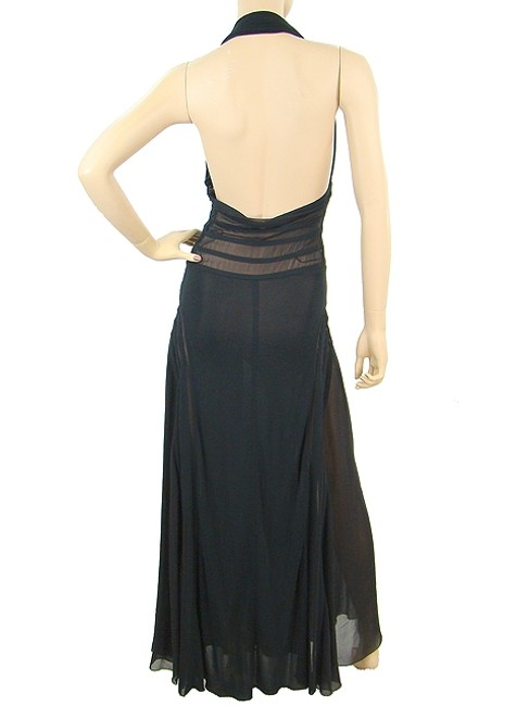 Jean-Paul Gaultier Gown Drape Draped Flowy Halter Sheer Silk Striped Bold Stripe Evening Maxi Dress