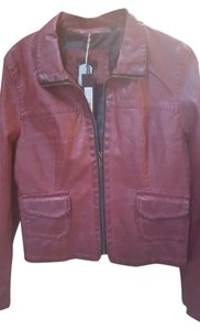 William Rast Red Distressed Motorcycle brick Leather Jacket