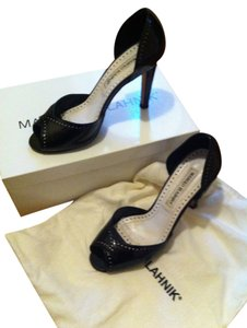 Manolo Blahnik Open Toe D'orsay Black Pumps