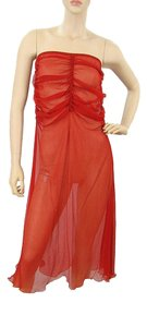 Red Maxi Dress by Jean-Paul Gaultier Sheer Summer Strapless Silk Ruffle
