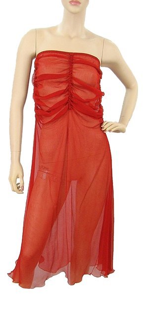 Preload https://item4.tradesy.com/images/jean-paul-gaultier-red-silk-shirred-strapless-high-low-casual-maxi-dress-size-6-s-979958-0-0.jpg?width=400&height=650