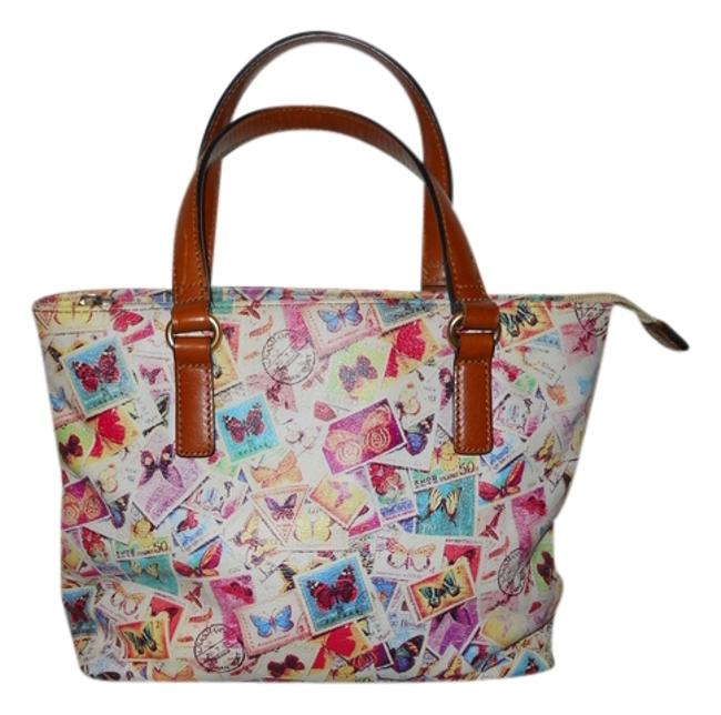 Item - Small Butterfly Stamp Brown Multi Color Leather Tote