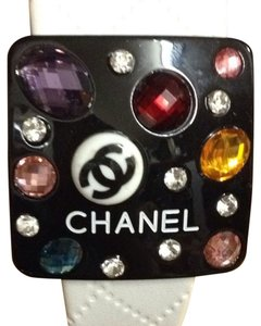 "Chanel Authentic Chanel White Quilted Multicolor Crystals Headband"" (RARE)"