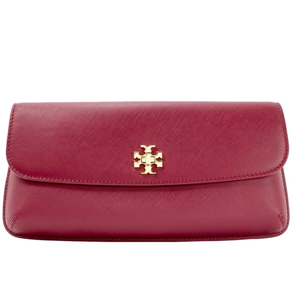 c30252aa310ab Tory Burch Diana Red Agate Leather Clutch - Tradesy