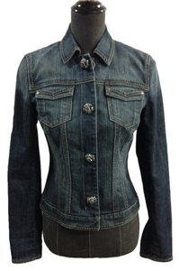 Elie Tahari Jeweled Buttons Blue Denim Womens Jean Jacket