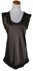 Marc Jacobs Short Sleeve Tunic Liquid Satin Top Brown